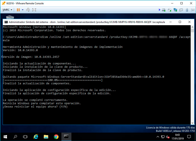 windows server cambiar version evaluacion standard 10